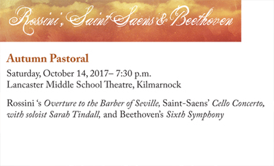 Fall Concert - AUTUMN PASTORAL - Saturday, October 14, 2017 at 7:30 p.m. at Lancaster Middle School Theater, Kilmarnock