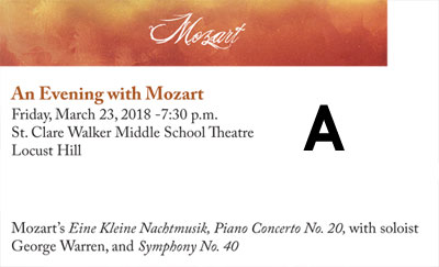 Winter Concert OPTION A - MOZART - Friday, March 23, 2018 at 7:30 p.m. at St. Clare Walker Middle School in Locust Hill