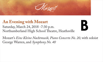 Winter Concert OPTION B - MOZART - Saturday March 24, 2018 at 7:30 p.m. at Northumberland High School Theater in Claraville