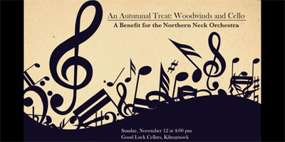 Woodwinds and Cello - BENEFIT CONCERT - Sunday, November 12, 2017, at 4 p.m., at Good Luck Cellars, Kilmarnock