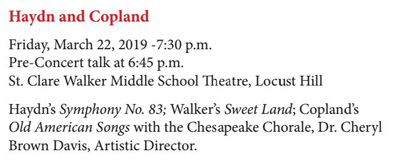 American Showcase (Option A) - Friday, March 22, 2019 - 7:30 p.m. (pre-concert talk starting at 6:45 p.m.) at St. Clare Walker Middle School in Locust Hill