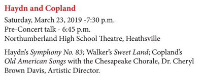 American Showcase (Option B) - Saturday, March 23, 2019 -7:30 p.m. (pre-concert talk starting at 6:45 p.m.) at Northumberland High School Theater in Claraville