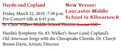 American Showcase (Option A) - Friday, March 22, 2019 - 7:30 p.m. (pre-concert talk starting at 6:45 p.m.) at Lancaster Middle School Theater, Kilmarnock